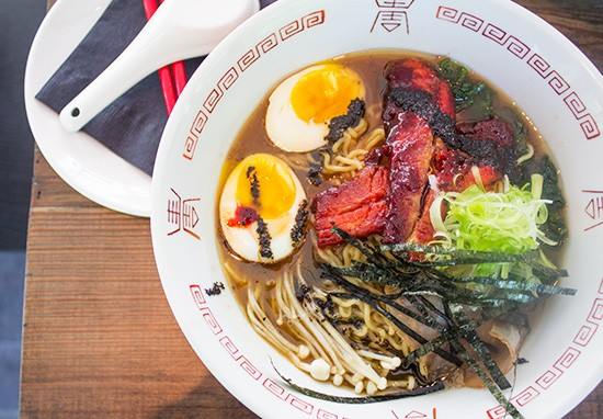 Tonkatsu ramen with pork belly and loin, soft boiled egg, black garlic oil and mushroom. | Photos by Mabel Suen