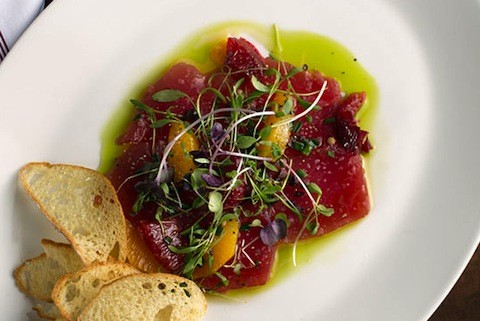 """Ahi Tuna, Thin and Raw"" at the Restaurant at the Cheshire 