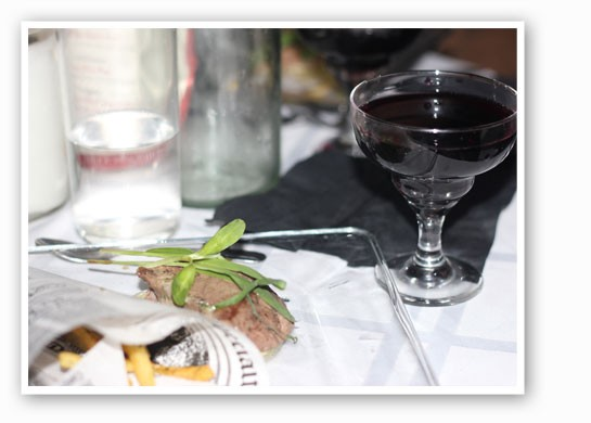The steak was paired with a cabernet-based cocktail. | Nancy Stiles