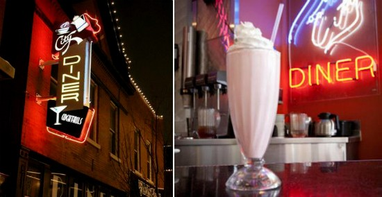 The exterior of City Diner (left) and one of its signature milkshakes served on its retro bar (right). - RFT PHOTOS