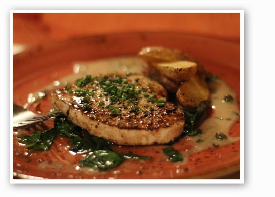 Swordfish with spinach and potatoes. | Nancy Stiles