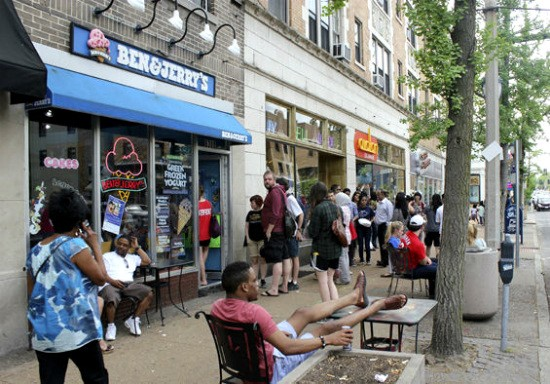 A line forming for free cones last year at the Ben & Jerry's in the Delmar Loop. - GAIL DIXON