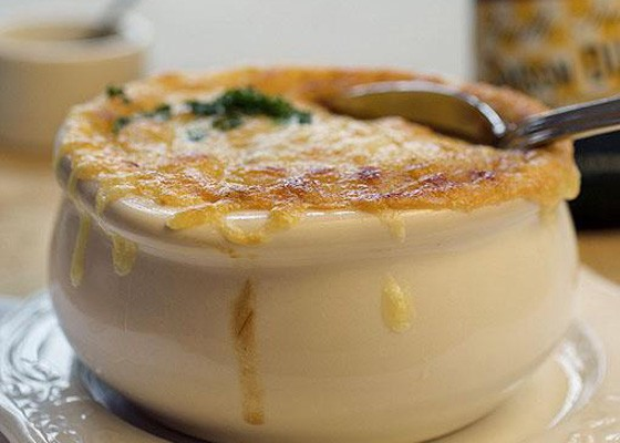 Onion soup at Brasserie. | Jennifer Silverberg