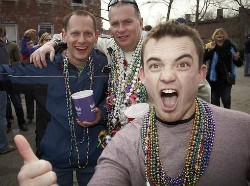 Party-goers drinkin' in the streets last year in Soulard.