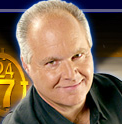 Rush Limbaugh, man with an electric blue halo.
