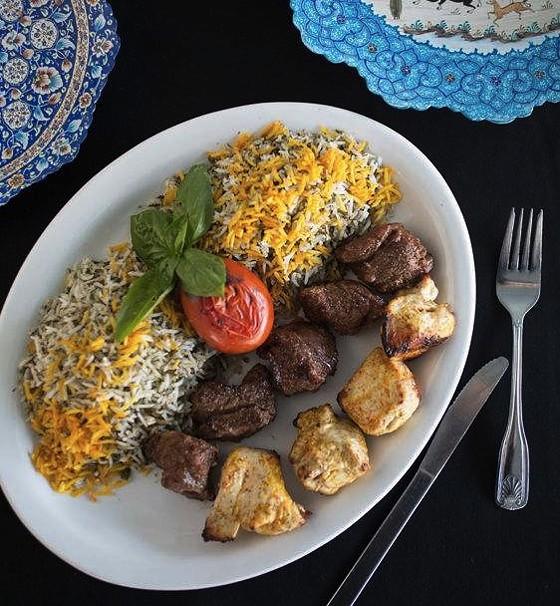 A platter of Cafe Natasha's beef and chicken shish kebabs.   Jennifer Silverberg