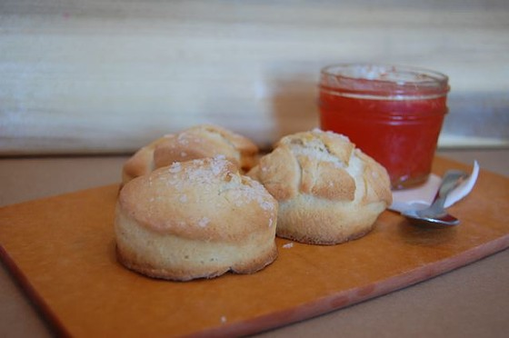 Shortbread sea-salt biscuits with watermelon jam at Home Wine Kitchen | Cheryl Baehr