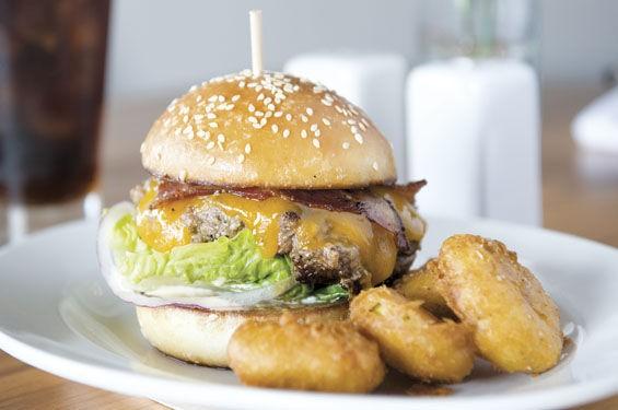 The brisket burger at Three Flags Tavern.   Corey Woodruff