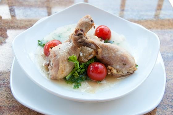 Bocci Wine Bar's parmesan chicken broth with chicken confit. | Caroline Yoo