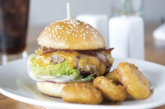 Small Batch Whiskey & Fare's vegetarian burger.   Caroline Yoo