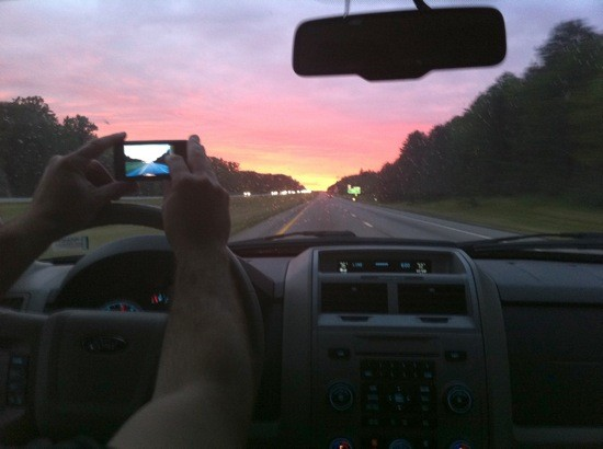 ON AN OVERNIGHT DRIVE TO BOSTON. COURTESY OF DAN MEEHAN.