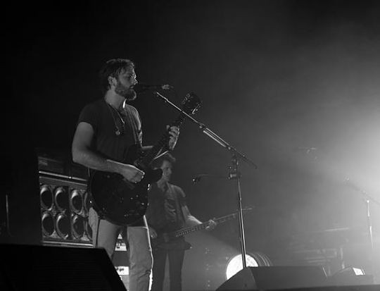 Pre-pigeon gate: Kings of Leon at the Verizon Wireless Amphitheater on July 23, 2010. - ERIN KINSELLA