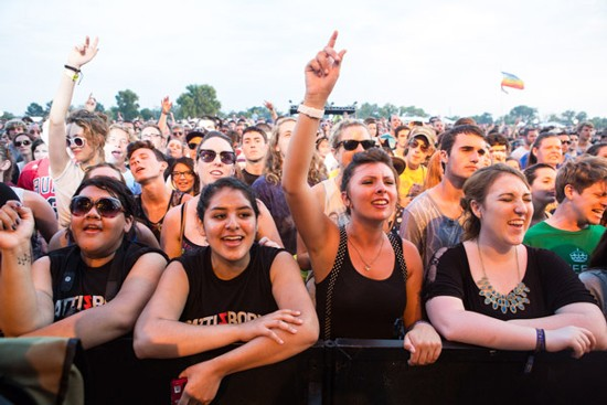 A front-row sing-along for Alabama Shakes on Sunday. - THEO WELLING