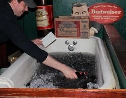 Bathtub Bud: Jack Patrick's ice-cold beer.