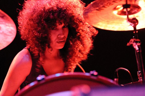 """Maria """"Poni"""" Silver, drummer for the Ettes, on Saturday night at the Pageant. See more photos of the Ettes at the Pageant.. - PHOTO: JASON STOFF"""