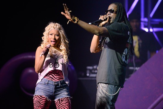 "Nicki onstage with opener 2 Chainz performing ""Beez in the Trap"" - TODD OWYOUNG"