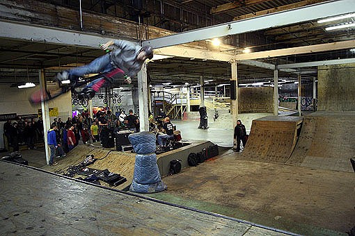 A BMX rider hits the ramps whiel Cobrangutan plays Saturday night at Ramp Riders. See more photos from Saturday night here. - PHOTO: NICK SCHNELLE
