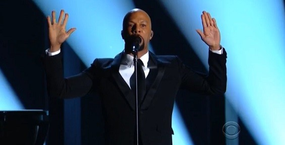 "Rapper Common raised his hands while mentioning Ferguson in the lyrics to his and John Legend's song ""Glory,"" also from the Selma soundtrack. - SCREENSHOT VIA CBS"