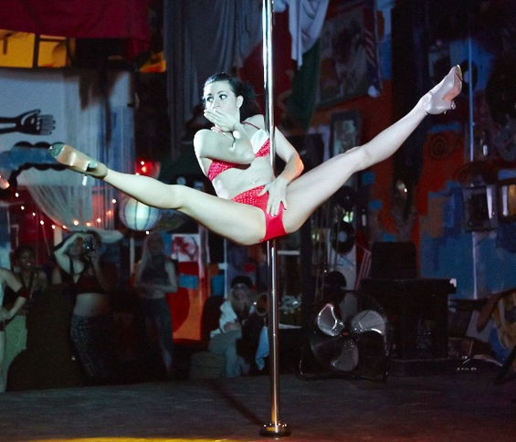 Showing off sweet moves during the pole-dancing extravaganza at 2720 Cherokee. See more photos here. - THEO WELLING