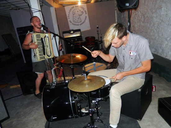 Lions Eat Grass tear through a quick set at Blank Space in late June 2013. - STEPHEN HOULDSWORTH