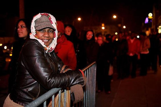 A fan waiting in the cold to enter the Pageant before the show - TODD OWYOUNG