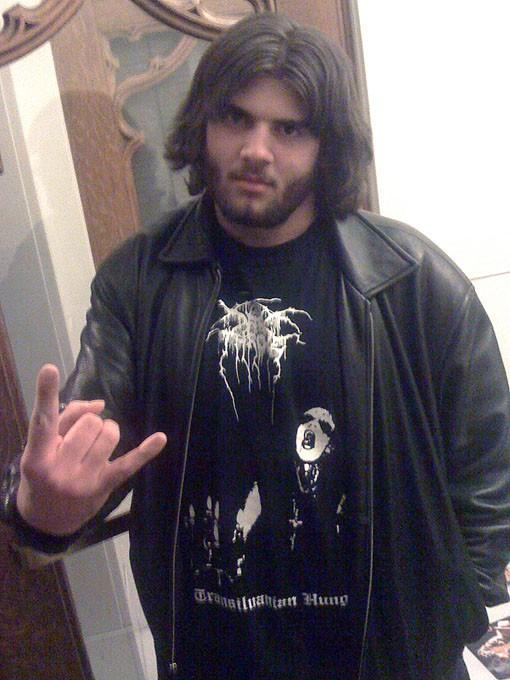 Metal fan Brent Dossett of Collinsville, Illinois.
