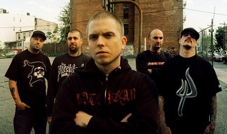 Hatebreed, with Jamey Jasta in the middle.