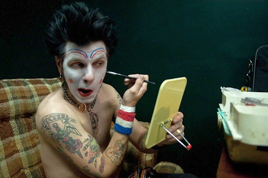 Clownvis Presley prepares in the green room at the Firebird. - BRIAN HEFFERNAN