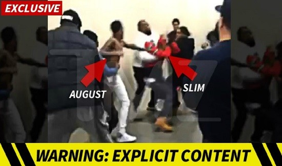 R&B star August Alsina and promoter LooseCannon SLIM brawl backstage at Chaifetz Arena. - SCREENSHOT FROM TMZ VIDEO, BELOW.