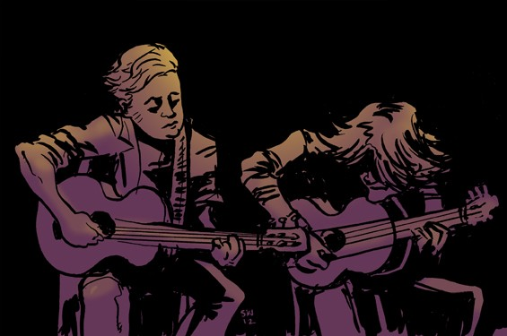 Jason Isbell and Ryan Adams onstage at the Peabody Opera House. - ILLUSTRATION BY SAM WASHBURN