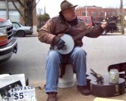 Charles Haller of the Soulard Folk and Blues Band