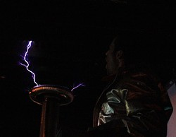 Coco powering the Tesla Coil. - MABEL SUEN