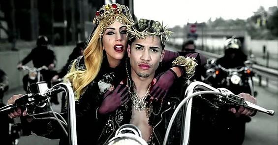"""Lady Gaga as Mary Magdalene, ridin' Jesus' hog in """"Judas."""""""