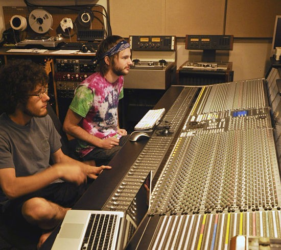 Webster Students working on the SSL Duality console in Webster's Studio A. - COURTESY OF WEBSTER UNIVERSITY