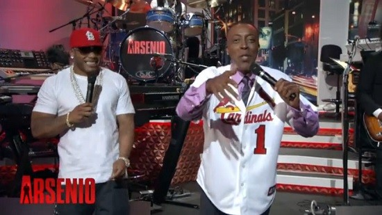 """Arsenio Hall performing """"Country Grammar"""" in an Ozzie Smith uniform, NOT doing backflips."""