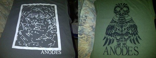 Anodes shows off two t-shirt designs, both of which will be available this week. - A.J. HOFSTETTER