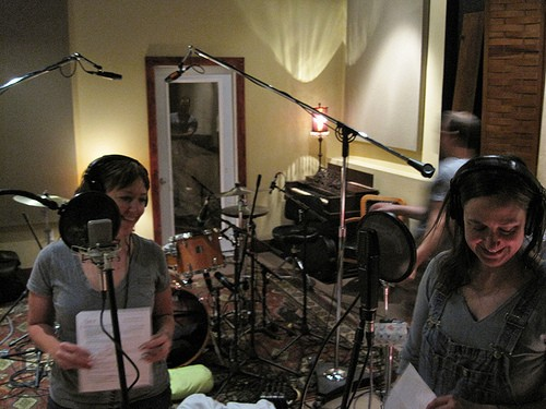 "Kate Eddens and Anne Tkach recording ""The Little Wrapped Gift."" - TOBY WEISS"