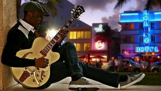 "St. Louis guitarist Olufunsho Adeshina. - ARTWORK FROM OLUFUNSHO ADESHINA'S ""WEEKEND IN MIAMI"""