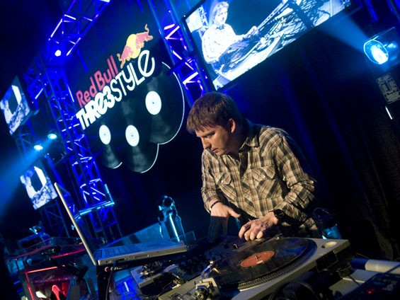 DJ A-Flex. See more photos from the Redbull Thre3style competition last night. - JON GITCHOFF
