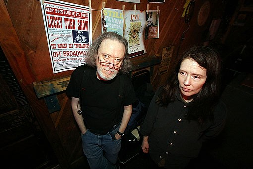 Uncle Monk's Tommy Ramone and Claudia Tienan pose for a photo before going on stage. View more photos from last night. - PHOTO: NICK SCHNELLE
