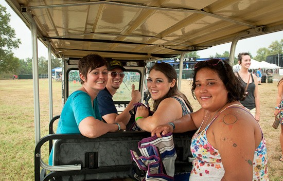 Call-A-Cart driver Mark Minden with Jen and her friends. - BRIAN HEFFERNAN