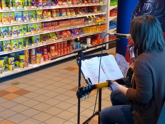 Beth Bombara plays at Schnucks. - KIERNAN MALETSKY