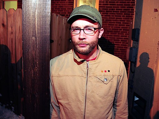 Steve Reidell, AKA STV SLV, of the Hood Internet last night at the Gramophone on Manchester, before his show. See a full slideshow from last night here. - PHOTO: EGAN O'KEEFE