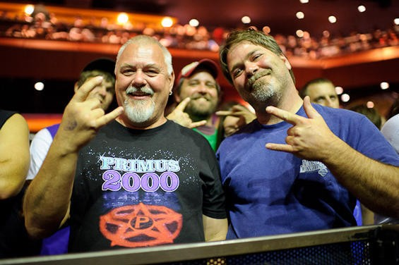 ROCK FISTS AND SMILES ALL AROUND FOR PRIMUS. PHOTO BY TODD OWYOUNG