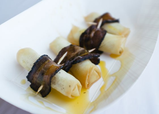 Bacon-wrapped spring rolls at Naked Bacon. - BRYAN SUTTER