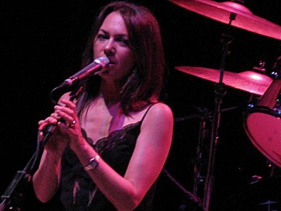 "Bangles vocalist/guitarist Susanna Hoffs while singing ""Eternal Flame"" at the Pageant last night. - ANNIE ZALESKI"