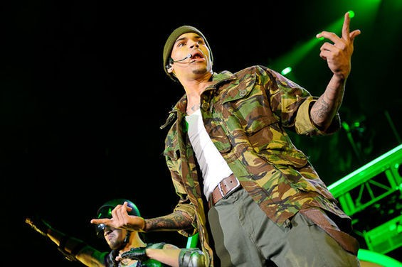 "Chris Brown asks, ""Why me?"" last year at the Verizon Wireless Amphitheater. - TODD OWYOUNG"