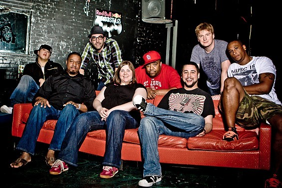 From left to right, Red Bull Thre3style contenders and host: Costik, DJ Uptown, DeadasDisco, Charlie Chan Soprano, DJ Mahf, A-Flex, and DJ Kue. - SARAH CONARD