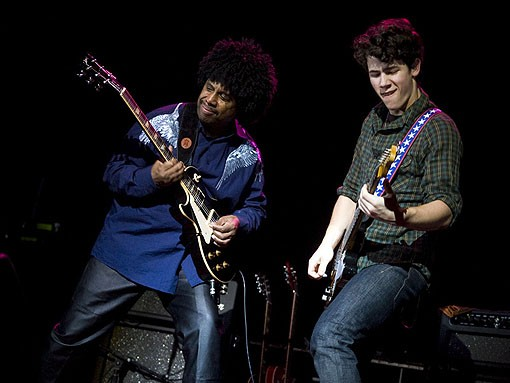 Nick Jonas and Sonny Thompson at the Pageant last night. See a full slideshow here. - PHOTO: JON GITCHOFF