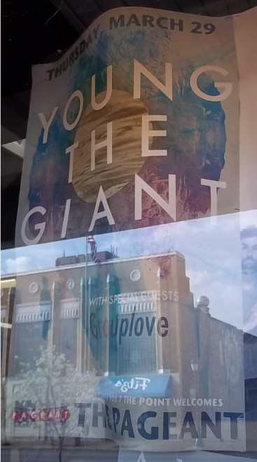 Please excuse the glare. Young the Giant with special guests Group Love. The Pageant, Thursday March 29.